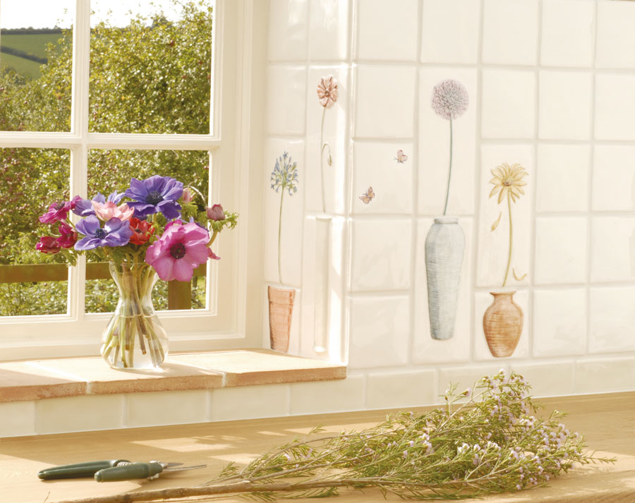 Window Sill With Butterflies - The Winchester Tile Company